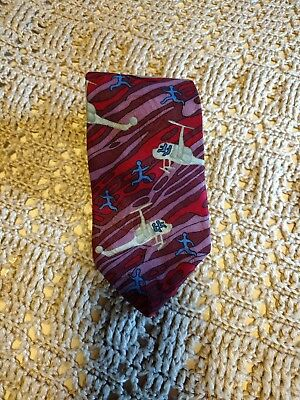 Mens tie Jimmy Pike military Desert Designs Helicopter 100 Italian silk