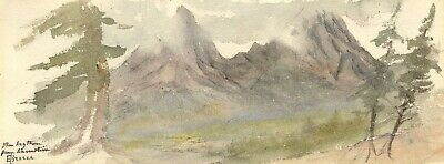 Emily Bruce, Mythen Mountain Viewed from Axenstein - 1873 watercolour painting