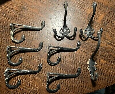 8 Antique C1900 Japanned Black Acorn Coat Hooks Cast Iron Victorian Hardware