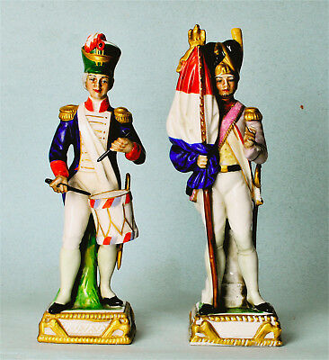 PAIR NAPOLEON SOLDIERS TRICOLEUR & DRUMMER 19th/Early 20th CENTURY CAPODIMONTE