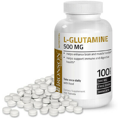 Bronson L-Glutamine Bodybuilding Supplement Enhance Muscles, 500 mg, 100 Tablets
