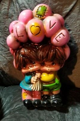 Vintage Mid Century 1970s LOVE Chalkware Patches Boy & Girl Balloons Bank