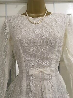 Vintage Size 8-10 1950s-60s Wedding Dress , Lace , Bow Detailing