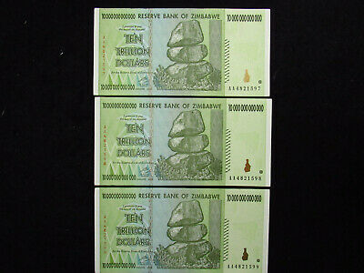 (3) 2008 Ten Trillion Reserve Bank Of Zimbabwe CONSECUTIVE NUMBER CRISP 2