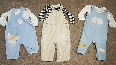 BOYS BUNDLE dungarees outfits x 3 age 6-9 months