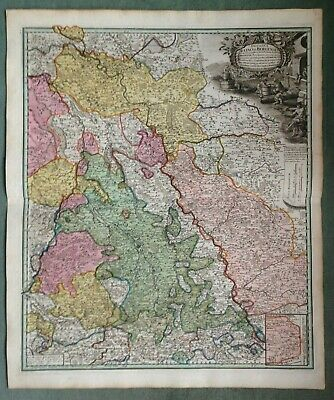 Germany Bergen Homann Hrs Nice Large Antique Engraved Map 18Th Century
