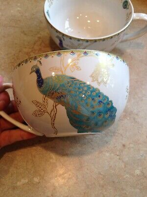 Pair Of 222 Fifth Peacock Garden Large Soup Mugs