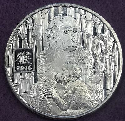 2016 1oz Silver Year Of The Monkey Round Chinese Lunar .999 Pure Silver