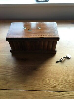 Sorrento Ware, Inlaid Puzzle Box, with Key and Secret Compartment.