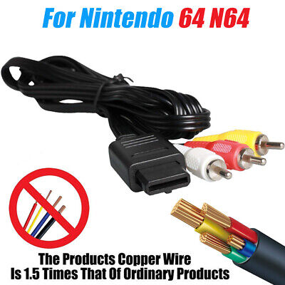 6FT AV Lead Composite RCA Video Cable TV Game Wire For N64  SNES Super Nintendo