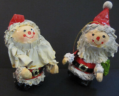 2 Vtg Paper Mache Christmas Santa Ornaments lot