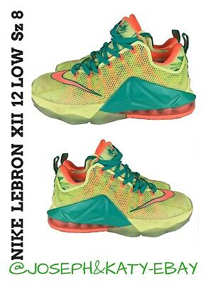 359a9c61500b Nike Air LeBron 12 Low 776652 383 XII PRM Lebronald Palmer White Lime-Mango