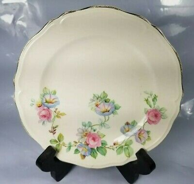 The Edwin M. Knowles China Co. 36-5 Lot Of 3 Floral Plates gold accent trim