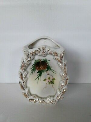 Vintage Wall Pocket Made In Japan Pine Cone With Flower