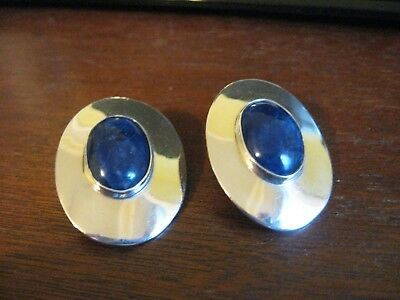 Vintage Taxco Mexico Sterling Silver Lapis Large Oval Earrings Pierced