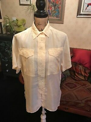 99579ff26a2ac FEELING Ladies Cream Pure Silk Short Sleeve Embroidered Blouse Shirt Size M  14
