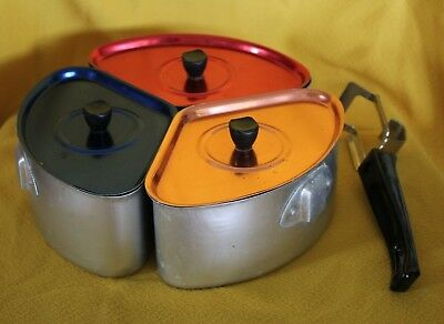 vintage  anodised energy power saver x 3 saucepan set triangular pots + lifter