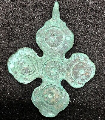 SL01 ANCIENT BYZANTINE BRONZE CROSS PENDANT 43.5x33.8mm