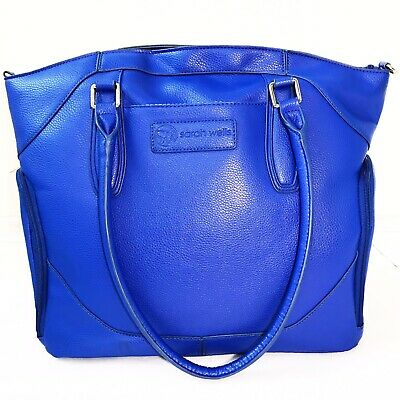 Sarah Wells Breast Pump Bag Annie Dazzling Blue Faux Leather Nursing Baby Diaper