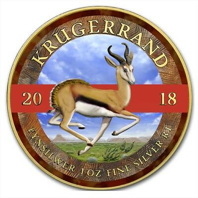 2018 1 Oz Silver South Africa SPRINGBOK KRUGERRAND Coin WITH 24K GOLD GILDED.
