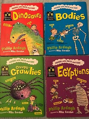 4 HENRY's HOUSE Books: DINOSAURS,BODIES,EGYPTIANS & Creepy CRAWLIES FACTS & FUN
