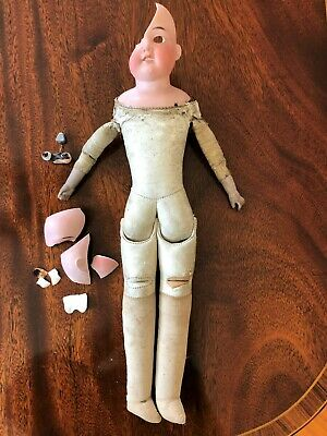 Antique Armand Marseille Leather Body Bisque Head Doll 390 4/0 DEP As Is