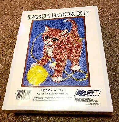 Vintage 1983 National Yarn Latch Hook Rug Kit In Box R830 Cat and Ball *Sealed*