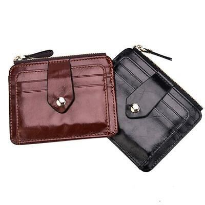 Womens Mens PU Leather Wallet Credit ID Card Holder Zip Purse Coin Pouch Bifold