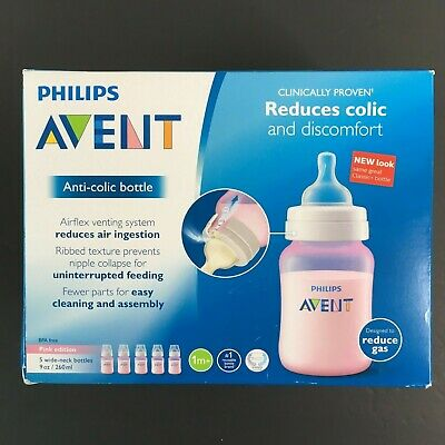 Philips Avent Anti-Colic Baby Bottles Pink 9 Ounce (Pack of 5)