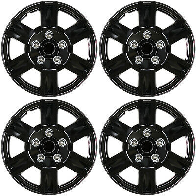 "4 Pc Set 15"" inch ICE BLACK Hub Caps Cover for OEM Steel Wheel Covers Cap"
