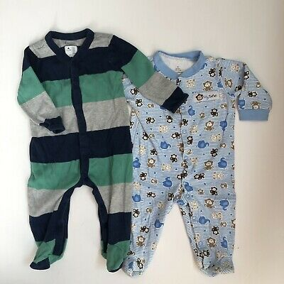 28ace7142 BABY BOY PAJAMAS 6 Months Snap Footed Long Sleeve Blue Green Monkey ...