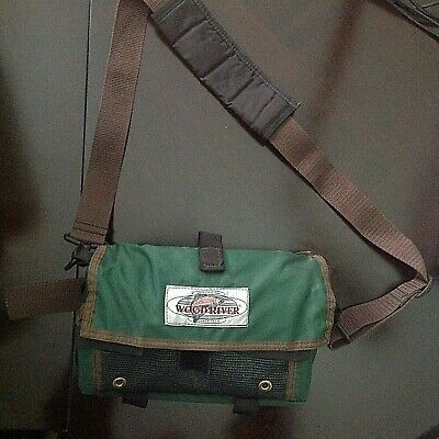 Wood River Green Fly Fishing Tackle Waist Shoulder Chest Bag Mesh Compartments