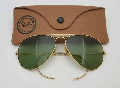 c11c8a34cd348 Vintage B L Ray Ban Bausch   Lomb RB3 Green 58mm 1 10 12k GF Outdoorsman