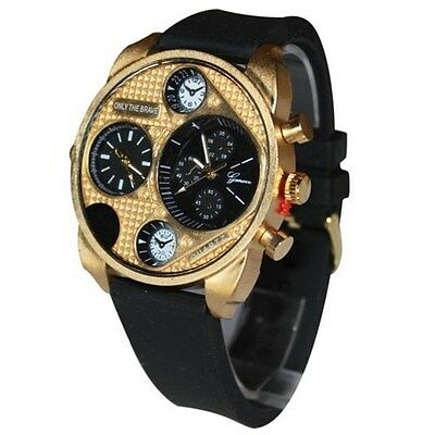 Dual Time Gold Black Fashion Designer Luxury Oversized Mens Watch