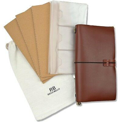 RICCO BELLO Refillable Genuine Leather Aventura Travelers Notebook BROWN