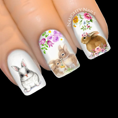 FLOWER GARDEN BUNNY Easter Nail Water Transfer Decal Sticker Art Slider