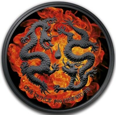 2018 $2 Niue BURNING DRAGONS Ruthenium 1 Oz Silver Coin.