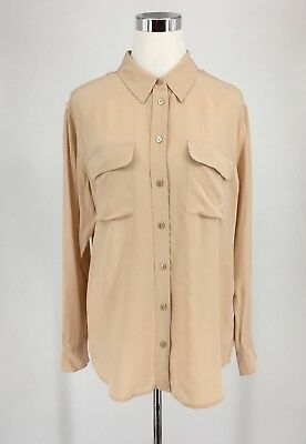 c2b5f9fd41834b Equipment Femme Women s Blush Pink 100% Silk LS Button Up Blouse Size Medium