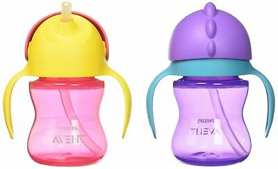 2 Ct Pink//Purple SCF792//20 Philips Avent My Bendy Straw Cup 10 Oz 12m