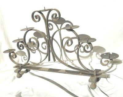 Old Vintage French Wrought Iron Antique 7 Candle Rustic Candelabra Holder Ball