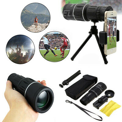 16x52 Zoom Hiking Monocular Telescope HD Camera Lens+Tripod+Clip For Cell Phone