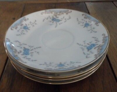"""Seville Imperial China==4-6.25"""" Saucers==Blue Roses==W Dalton=Nice Condition"""