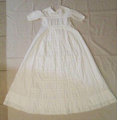 1800s Antique French Baby Christening Gown Fine Cotton Exquisite Lace Embroidery