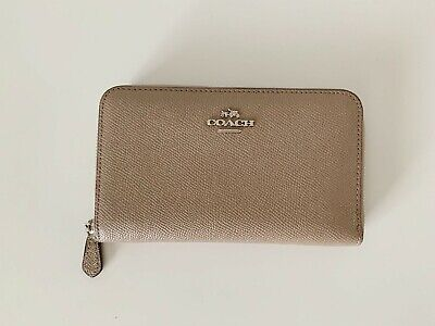 9b12e16d272c36 Coach – Medium Zip Around Wallet In Crossgrain Leather Women S Wallets Beige