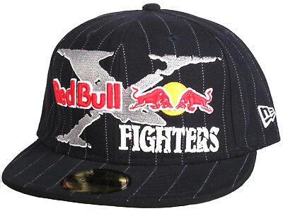 e22abfa2f74e4 Rare Red Bull X Fighters FOX Navy Pinstripe New Era 59Fifty Fitted Hat - Size  7