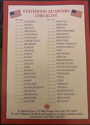 Official Whitman Statehood Quarters Checklist And Schedule