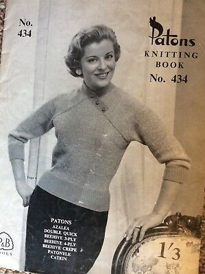 Vintage Patons Knitting Pattern Book 434 Ladies Designs in a variety of yarns
