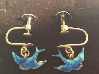 ANTIQUE STERLING SILVER ENAMELLED BIRD OF HAPPINESS EAR RINGS 1930-1940's