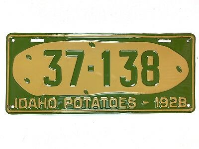 Idaho 1928 Potato License Plate Old Tag Repaint Man Cave Vtg Car Rare SEE Video