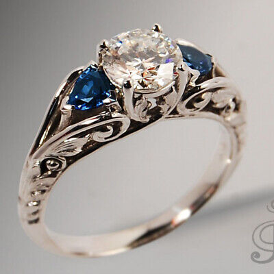 Antique Jewelry 925 Silver White &Blue Sapphire Ring Proposal Engagement Jewelry